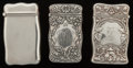 Silver Smalls:Match Safes, Three Gorham Art Nouveau Silver Match Safes, Providence, RhodeIsland, circa 1900. Marks to all: (lion-anchor-G), STERLING...(Total: 3 Items)