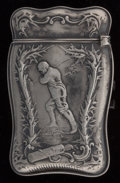 Silver Smalls:Match Safes, A Whiting Mfg. Co. Silver Golf Motif Match Safe, New York, NewYork, circa 1890. Marks: (W-griffin), 925 1000 FINESTERLIN...