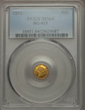 California Fractional Gold , 1853 50C Liberty Round 50 Cents, BG-415, Low R.5, MS64 PCGS....
