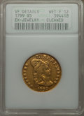 Early Half Eagles, 1799 $5 Small Reverse Stars, BD-6, R.5 -- Ex-Jewelry, Cleaned --ANACS. VF Details, Net Fine 12....