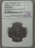 Colonials, 1760 1/2 P Hibernia-Voce Populi Halfpenny, P Before Face -- Environmental Damage -- NGC Details. XF. NGC Census: (4/11). PC...