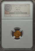 California Fractional Gold , 1853 $1 Liberty Octagonal 1 Dollar, BG-530, R.2, MS61 NGC....