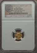 California Fractional Gold , Undated $1 Liberty Octagonal 1 Dollar, BG-501, Low R.5 -- MountRemoved -- NGC Details. XF....