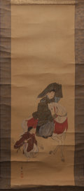 Asian:Japanese, Japanese School (19th Century). Man on Horse with Child Scroll. Ink and watercolor on silk, paper backed, wooden dowel. ...