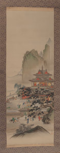 Asian:Chinese, Japanese School (20th Century). Court Scene Scroll, early20th century. Ink and watercolor on silk, paper backed. 79 x 2...