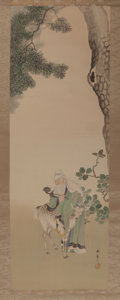 Asian:Japanese, Japanese School (19th Century). Jurojin and Deer Scroll. Ink and watercolor on silk, paper backed, wooden dowel. 81 x 21...
