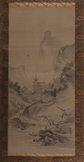 Asian:Japanese, Japanese School (19th Century). Landscape with Sea Scroll.Ink and watercolor on silk, paper backed, bone-capped dowel. ...