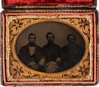 Quarter Plate Daguerreotype a Union Soldier and His Family