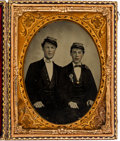 Photography:Daguerreotypes, Quarter Plate Daguerreotype of Two Unidentified Soldiers PossiblyFrom the 13th Regiment New York State Militia....
