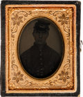 Photography:Tintypes, Ninth Plate Tintype of an Unidentified Union Soldier....