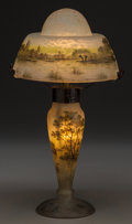 Art Glass:Daum, A Daum Enameled Mottled Glass Summer Landscape Lamp, Nancy,France, circa 1905. Marks: Daum, Nancy. 14 inche... (Total:2 Items)