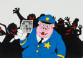 Animation Art:Production Cel, Fritz the Cat Officer Pig Production Cel Setup (RalphBakshi, 1972)....
