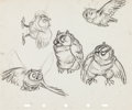 Animation Art:Concept Art, Bambi Friend Owl Character Studies (Walt Disney, 1942)....(Total: 2 )