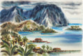 Animation Art:Production Drawing, The Art of Retta Scott Hawaii Landscape Painting (WaltDisney, 1959)....