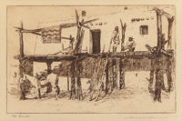 Edward Borein (American, 1873-1945) Settlements of the West (four works) Etchings and drypoints, eac