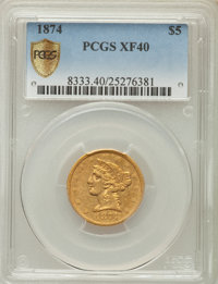 1874 $5 XF40 PCGS Secure....(PCGS# 8333)
