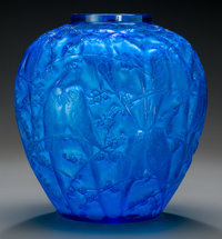 An R. Lalique Electric Blue Glass Perruches Vase, circa 1919 Marks: R. Lalique