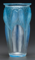 Glass, An R. Lalique Opalescent Glass Ceylan Vase with Blue Patina, circa 1924. Marks: R. LALIQUE. 9-1/2 inches hig...