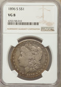 Morgan Dollars: , 1896-S $1 VG8 NGC. NGC Census: (19/1647). PCGS Population(21/3120). Mintage: 5,000,000. Numismedia Wsl. Price for problem...