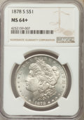 Morgan Dollars, 1878-S $1 MS64+ NGC. NGC Census: (15301/4655). PCGS Population (15031/4903). Mintage: 9,774,000. Numismedia Wsl. Price for ...