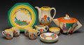 Ceramics & Porcelain, British:Modern  (1900 1949)  , A Thirteen-Piece Clarice Cliff Bizarre Balloon Tree andTulip Patterned Porcelain Tea and Coffee Servi... (Total: 13Items)