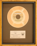 "Music Memorabilia:Awards, Johnny Mathis & Denice Williams ""Too Much, Too Little, TooLate"" In-House Gold Record Sales Award (Columbia 3-10693, 1978)...."