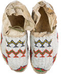 American Indian Art:Beadwork and Quillwork, Pair of Beaded Hide Moccasins.... (Total: 2 Items)