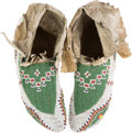 American Indian Art:Beadwork and Quillwork, Pair Beaded Hide Ceremonial Moccasins.... (Total: 2 Items)