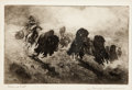 Art, Edward Borein (American, 1872-1945): Three Etchings Depicting Native Americans Hunting and Raiding.... (Total: 3 Items)