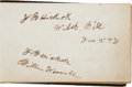 """Western Expansion:Cowboy, James Butler """"Wild Bill"""" Hickok and William F. """"Buffalo Bill"""" Cody:A Rare and Important Signed Autograph Book from the Legend..."""