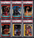 Basketball Cards:Lots, 1986 Fleer & Fleer Stickers Stars & HoFers PSA GradedCollection (6)....