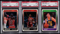 Basketball Cards:Lots, 1988 Fleer Basketball HoFers PSA Mint 9 Graded Trio (3)....