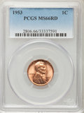 Lincoln Cents: , 1953 1C MS66 Red PCGS. PCGS Population (468/17). NGC Census: (844/25). Mintage: 256,883,808. Numismedia Wsl. Price for prob...
