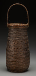 Asian:Japanese, A Japanese Woven Bamboo Ikebana Handled Basket, Meiji Period.Signed Hosai.. 14 inches high (35.6 cm). Provenance: Eth...