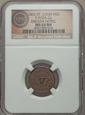 Civil War Merchants, 1862 Drovers Hotel, St. Louis, MO, Fuld 910A-2a, R.7, MS64 BrownNGC. ...