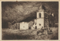Edward Borein (American, 1873-1945) Missions of the West (three works) Etchings and drypoints, each