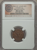Civil War Merchants, 1862 Drovers Hotel, St. Louis, MO, Fuld 910A-2a, R.7, MS62 BrownNGC. ...