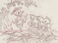 """Animation Art:Production Drawing, Good Housekeeping """"The Good Scouts"""" Donald, Huey, Dewey, andLouie Preliminary Drawing (Walt Disney, 1938)...."""