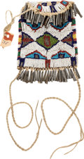 American Indian Art:Beadwork and Quillwork, Beaded Strike a Light Pouch with Conical Metal Dangles. ...