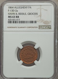 Civil War Merchants, 1864 Hahn & Riddle, Grocers, Allegheny, PA, Fuld-13D-2a, R.9,MS63 Red and Brown NGC....