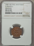Civil War Patriotics, (1861-1865) Freedom, Fuld-295/432a, R.4, MS63 Brown NGC....