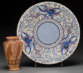 Ceramics & Porcelain, British:Modern  (1900 1949)  , A Charlotte Rhead Ceramic Vase and Charger, circa 1940. Markscharger: Bursley Ware, Charlotte Rhead, England, 7243 X.1... (Total: 2 Items)