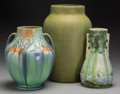 Ceramics & Porcelain, American:Modern  (1900 1949)  , A Group of Three Roseville Art Deco Ceramic Vases, Roseville, Ohio,circa 1925. 13-1/2 inches high (34.3 cm) (largest). PR... (Total: 3Items)