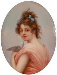 A German Painted Porcelain Oval Plaque in Giltwood Frame: Innocence, late 19th century Marks
