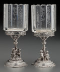 Silver Holloware, Continental:Holloware, A Pair of J. D. Schleissner Söhne Silver and Acid-Etched GlassToothpick Holders, circa 1880. Marks: (crown), 800, (...(Total: 2 Items)