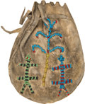 American Indian Art:Beadwork and Quillwork, Beaded Flint Pouch with Lizard Motif....