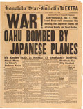 "Military & Patriotic:WWII, Original Honolulu Star-Bulletin 1st Extra WAR! OAHU BOMBEDBY JAPANESE PLANES""...."