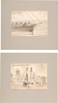 Art:Illustration Art - Mainstream, [Harper's] Original Civil War Sketches: Warfare on the River....(Total: 2 Items)