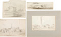 Art:Illustration Art - Mainstream, [Harper's] Original Civil War Sketches: Tybee Lighthouse andMore.... (Total: 4 Items)