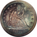 Proof Seated Quarters: , 1862 25C PR66 NGC. This stunning Premium Gem proof coin offerselectric blue obverse toning that deepens to magenta and amb...